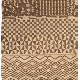 Tribal Tulu Nadu Style Rug with Brown Geometric Design N10308