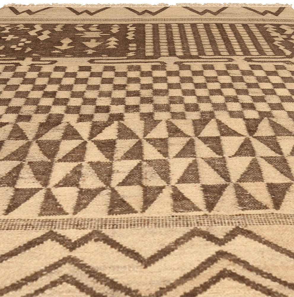 Tribal Tulu Nadu Style Rug with Brown Geometric Design N10308