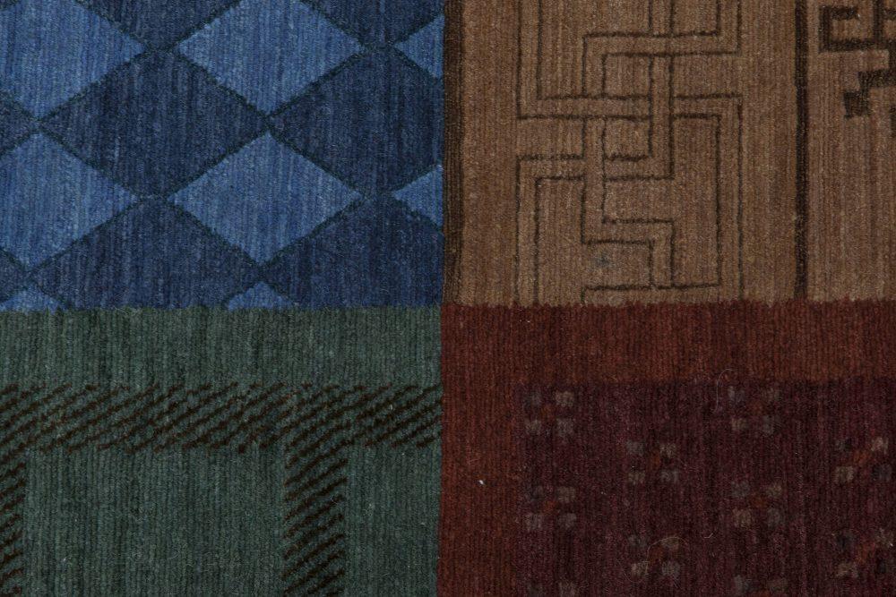 Nepalese Burgundy, Indigo, Navy Blue, Beige and Brown Wool Rug N11527