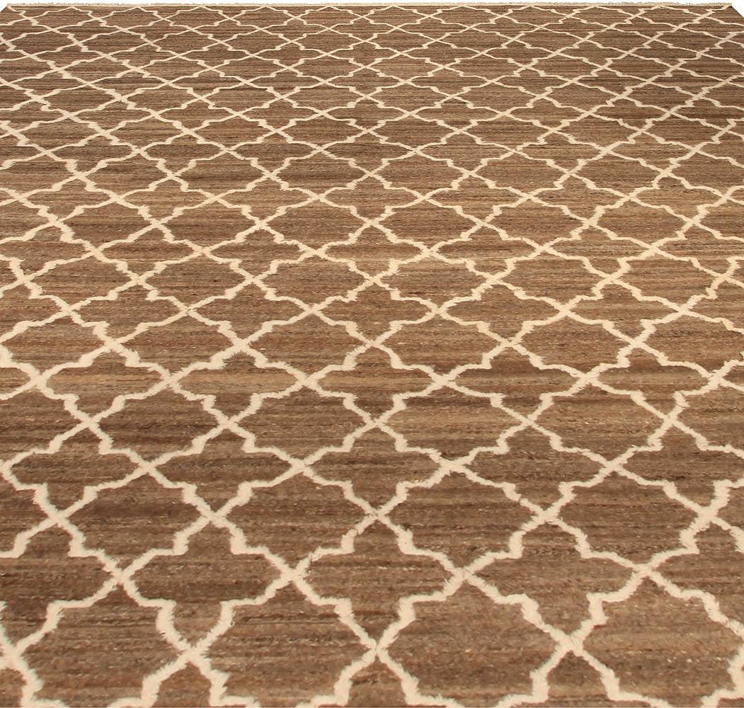 Modern Tulu Nadu Alhambra Petite Brown and Beige Rug N10313