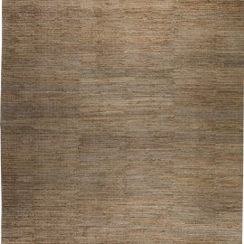 Oversized Contemporary Rustic Golden and Pale Gray Hemp Rug N11716