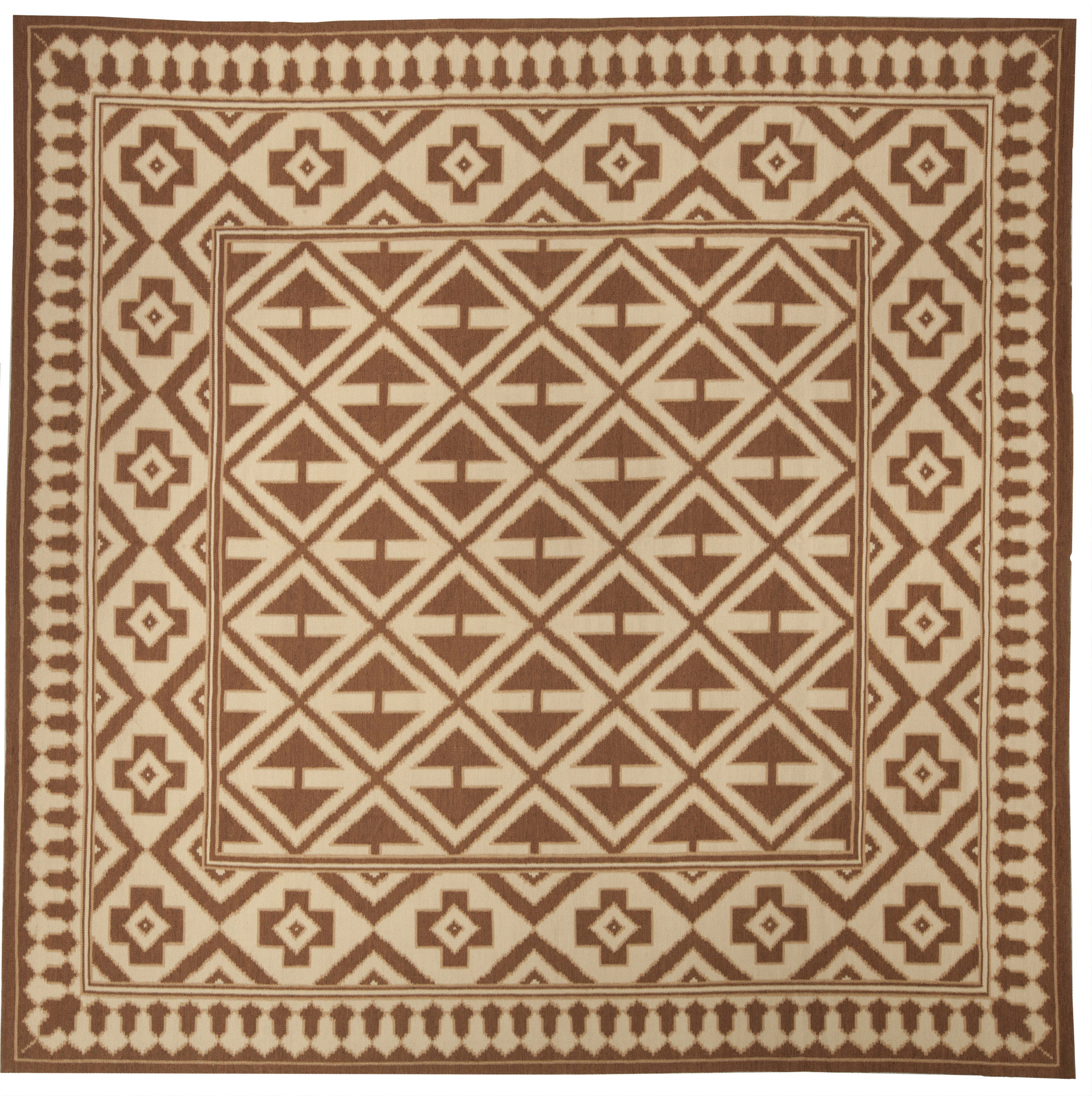 Melograno Aubusson Design Brown and Beige Hand Knotted Wool Rug N10365