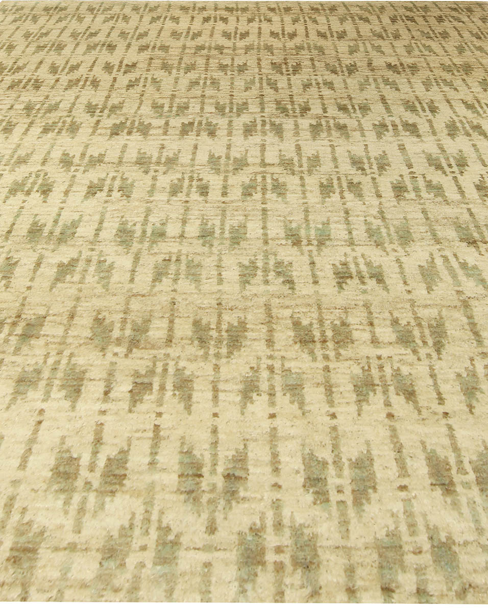 Quiver Beige and Olive Hemp Bunny Williams Wool Rug N10537