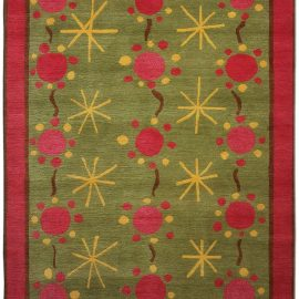 Scandinavian Style Rug 37 Green, Pink and Yellow Hand Knotted Wool N0165