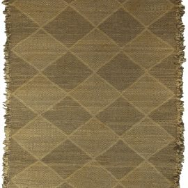 21st Century Diamond Shaped Brown Flat-Woven Wool Rug N10561