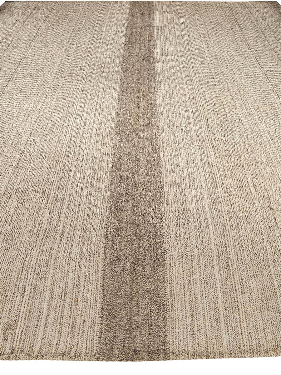 Contemporary Beige and Brown Persian Kilim Wool Rug N10215
