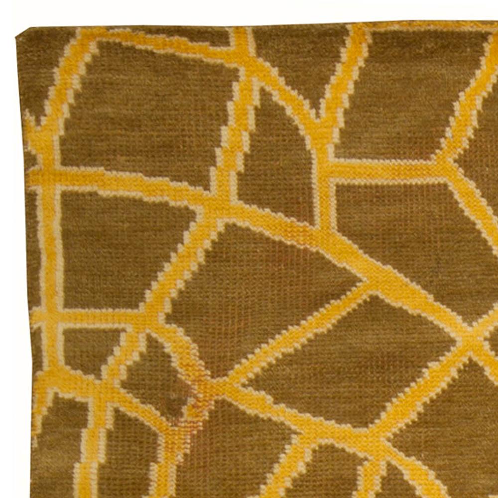 Modern Skin Yellow and Brown Handwoven Wool Rug N10228