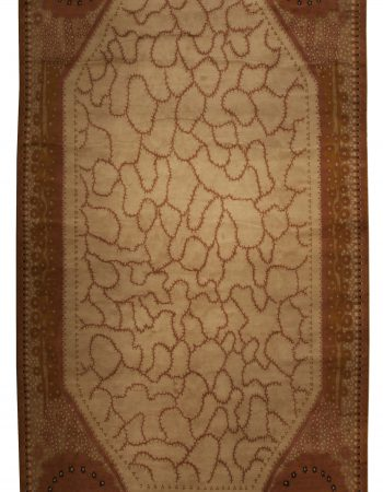 Contemporary White Shearling Rug with Tan Leather Stripes N12017