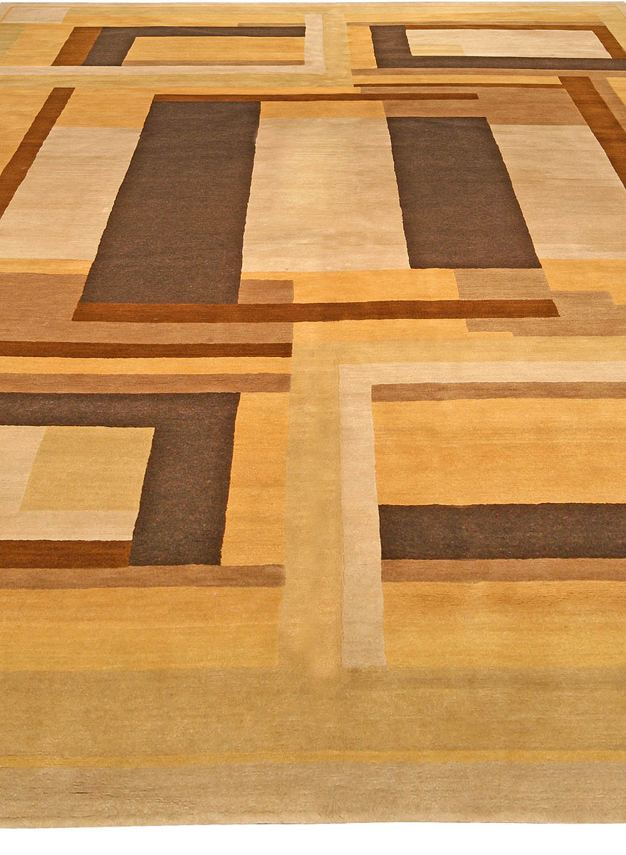 Contemporary Art Deco Inspired Brown, Beige and Yellow Rug N10944