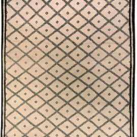 Contemporary Moroccan Beige and Black Hand Knotted Wool Rug N03454
