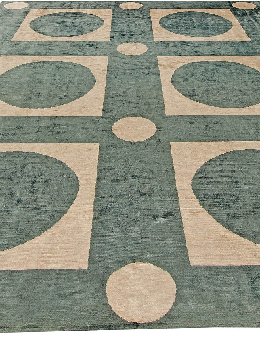 Sage Green & Beige Checker Board Hand Knotted Silk Rug N10991