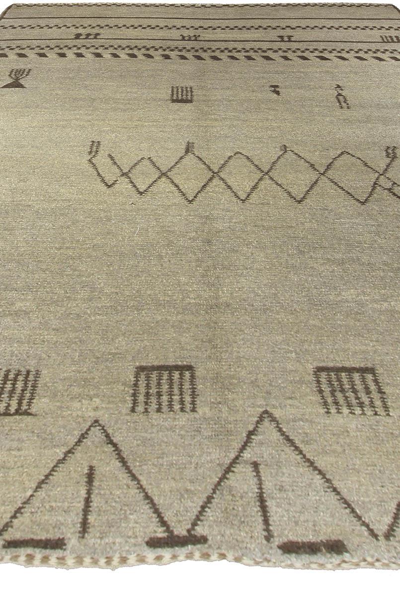 Handmade Moroccan Wool Rug with Tribal Design N10606