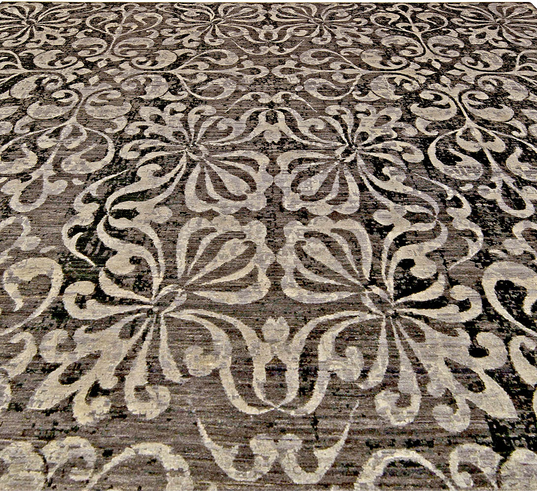 Modern Black and Silver Gray Passion Flowers Handwoven Wool Rug N11165