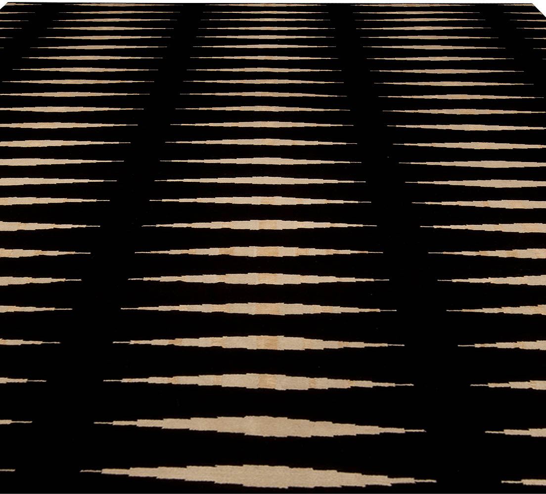 Modern Black and Beige Striped Skyline Wool Rug N10271