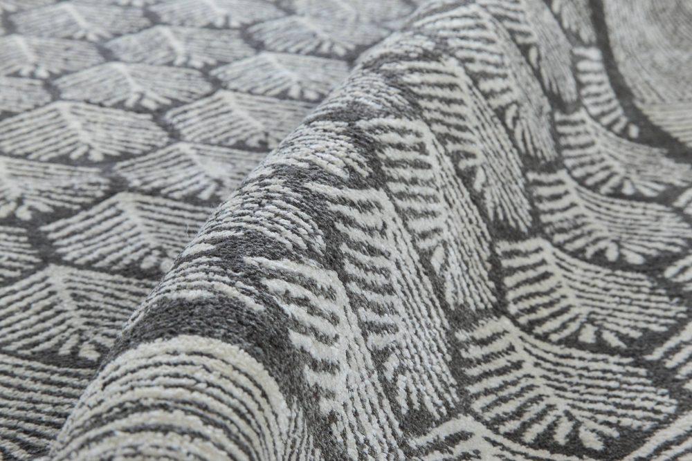 Contemporary Tibetan Pine Anthracite and White Handmade Rug N11502