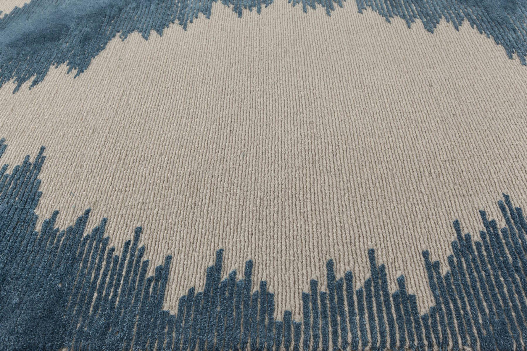 Modern Geometria Dark Blue and White Flat-Woven Wool Rug N11407