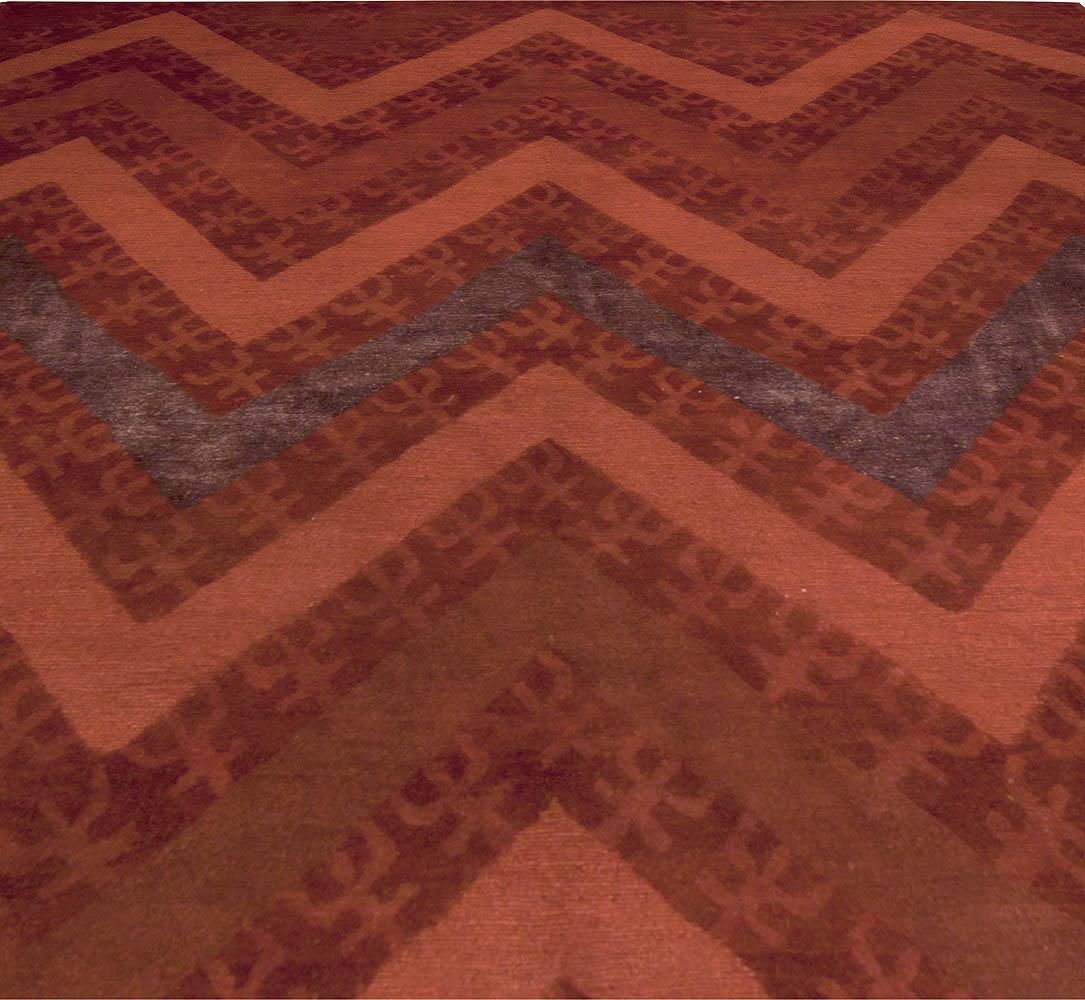 Contemporary Tibetan Zig-Zag Red Handwoven Wool Rug N10152