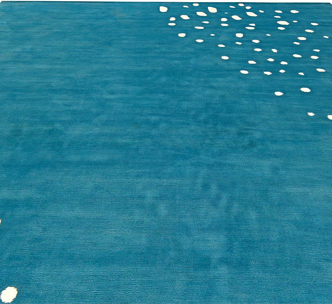 Seagull Tibetan Silk Rug In Ocean Blue and White N11120
