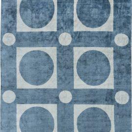 Modern Geometric Blue Handwoven Silk Rug N11494