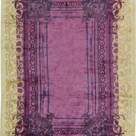 Contemporary Tibetan Cream, Gold and Purple Silk Rug N11508