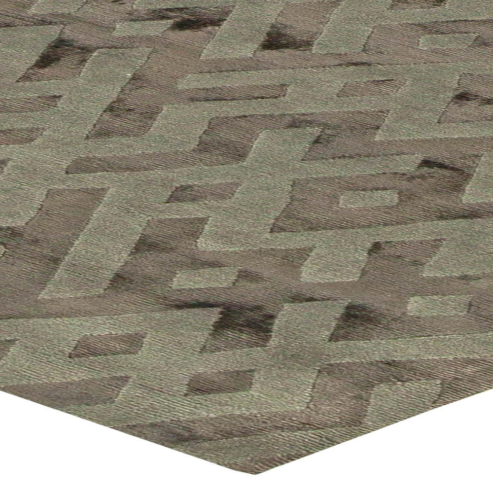 Contemporary Tibetan Geometric Gray Hand Knotted Silk Rug N11125