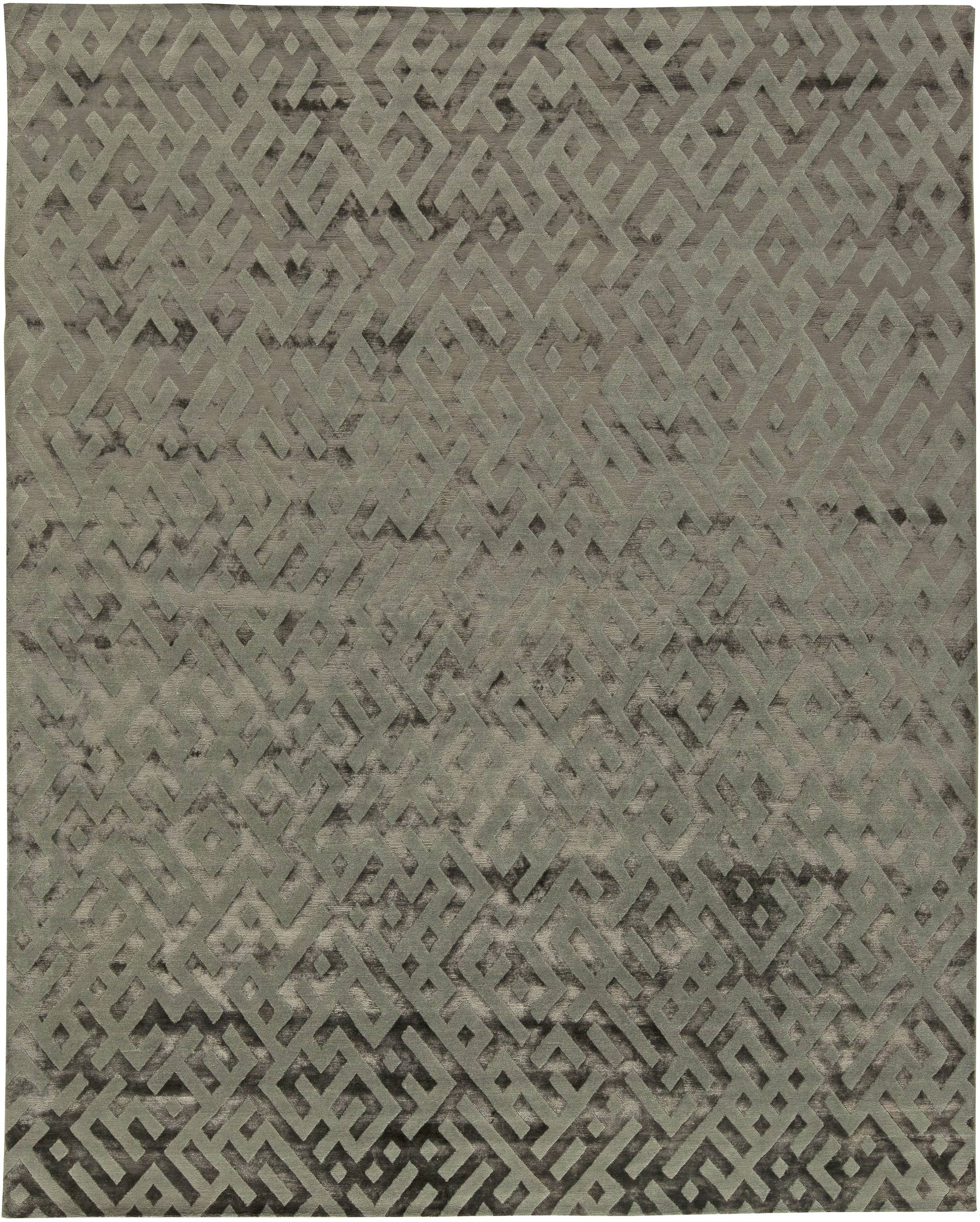 Geometric Gray Hand Knotted Silk Rug