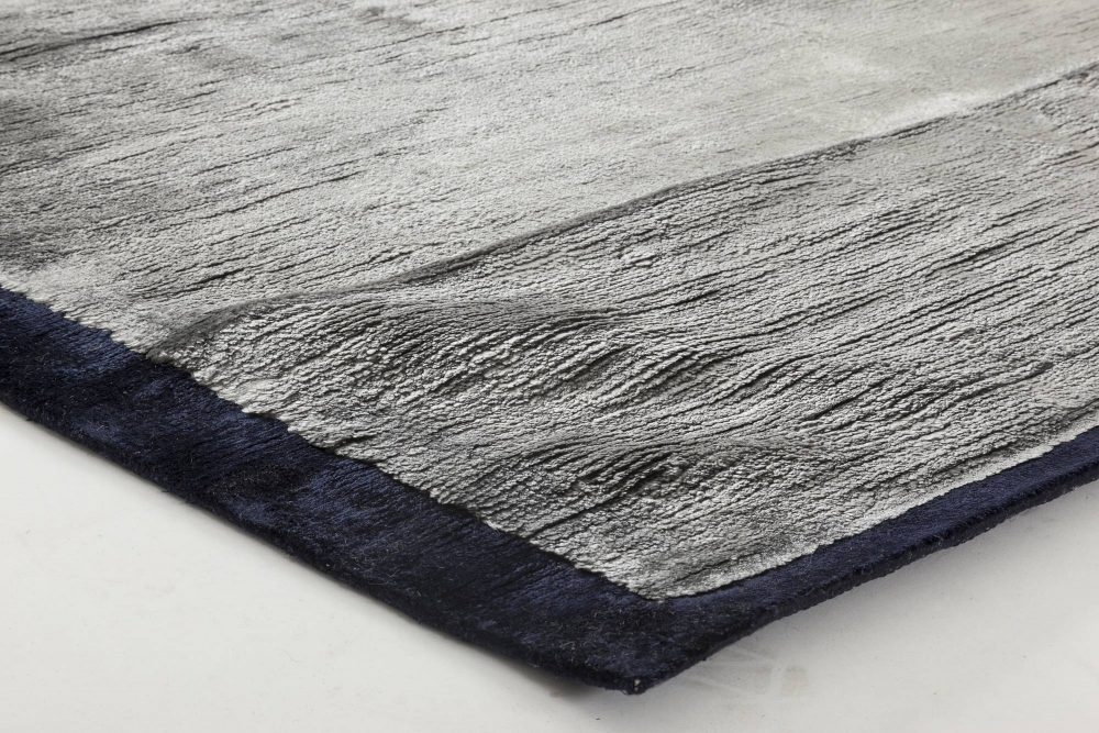 Modern Silver Blue Hand Knotted Silk Rug N11539