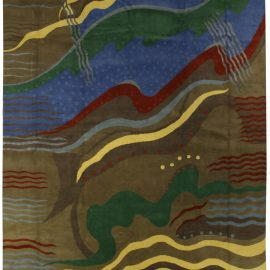 Art Deco Inspired Colorful Hand Knotted Silk & Wool Rug N10627