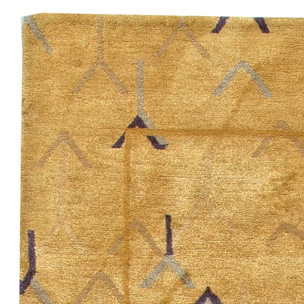 Contemporary Tibetan Gold & Navy Blue Wool and Silk Rug N11122