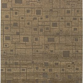 Contemporary Geometric Yellow and Brown Hand Knotted Hemp Rug N11124
