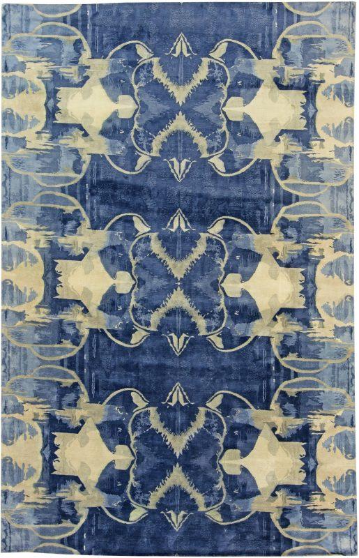 new-rug-tibetan-wool-silk-blue-white-15×10-n11230