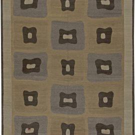 Modern Tibetan Mocha Brown and Gray Handwoven Wool Rug N11078