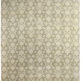 Modern Paleo White, Green and Gray Hand Knotted Hemp Rug N10476