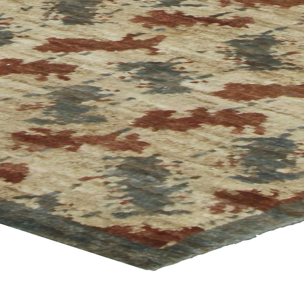 Contemporary Palette Beige, Brown and Blue Handwoven Wool Rug N10477