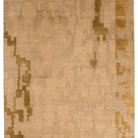 """Contemporary """"AD4"""" Golden Beige and Brown Rug by Arthur Dunnam N03684"""