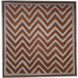 New SN1 Gray and Brown Zig-Zag Pattern Hand Knotted Wool Rug N03624