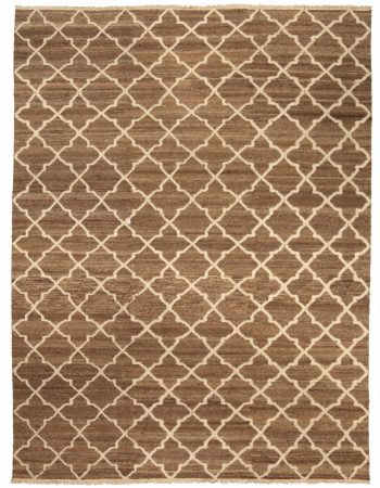 Contemporary Vespero Beige, Blue and White Hand Knotted Wool Rug N10376