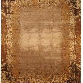 Contemporary Brown and Gold Elements Rug N10374