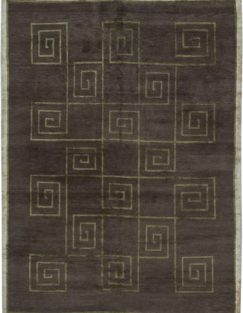 Geometric Stamverband V Steely Blue and White Goat Hair Rug N11831