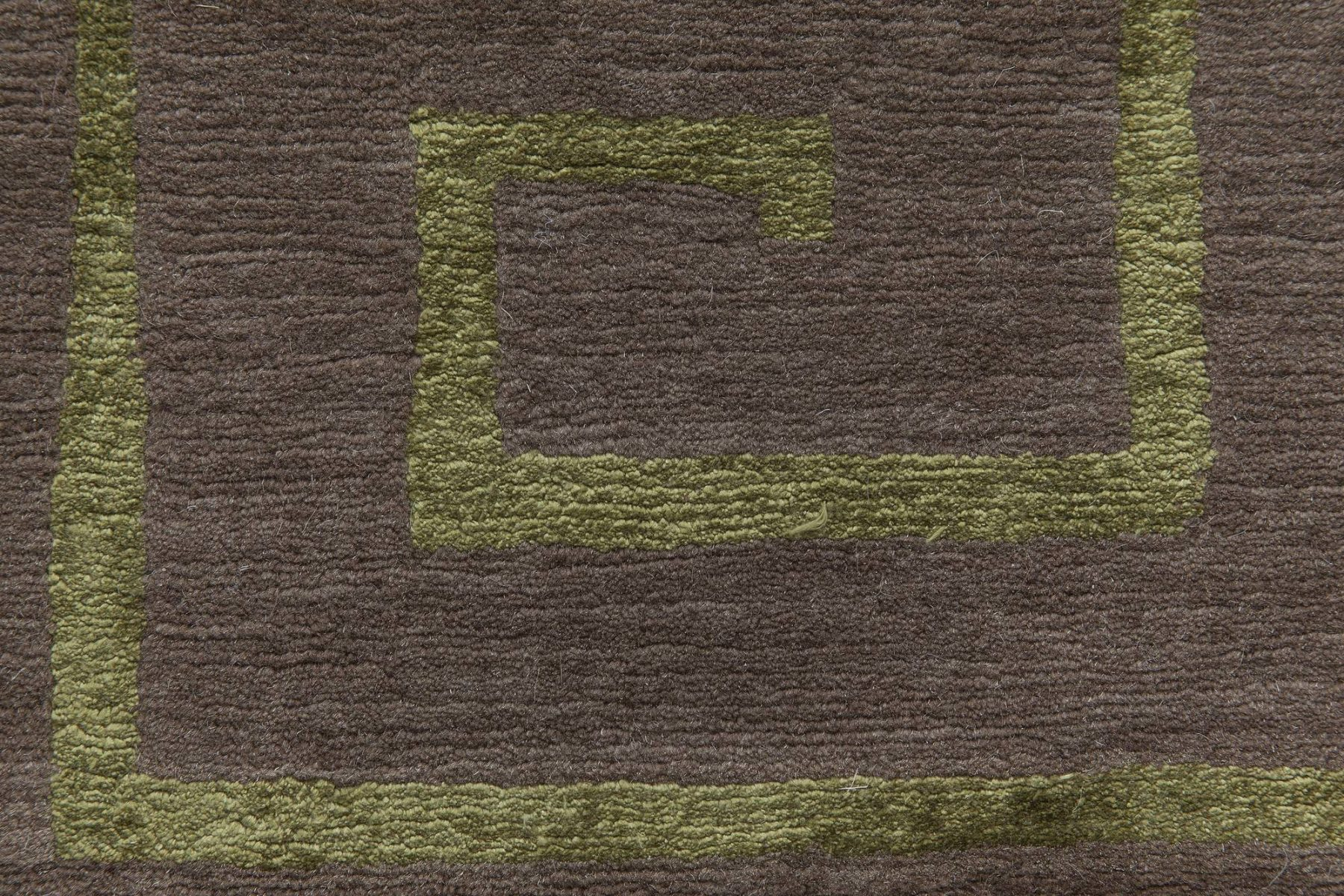 Tibetan Greek Key Dark Brown & Green Hand Knotted Wool & Silk Rug N11504
