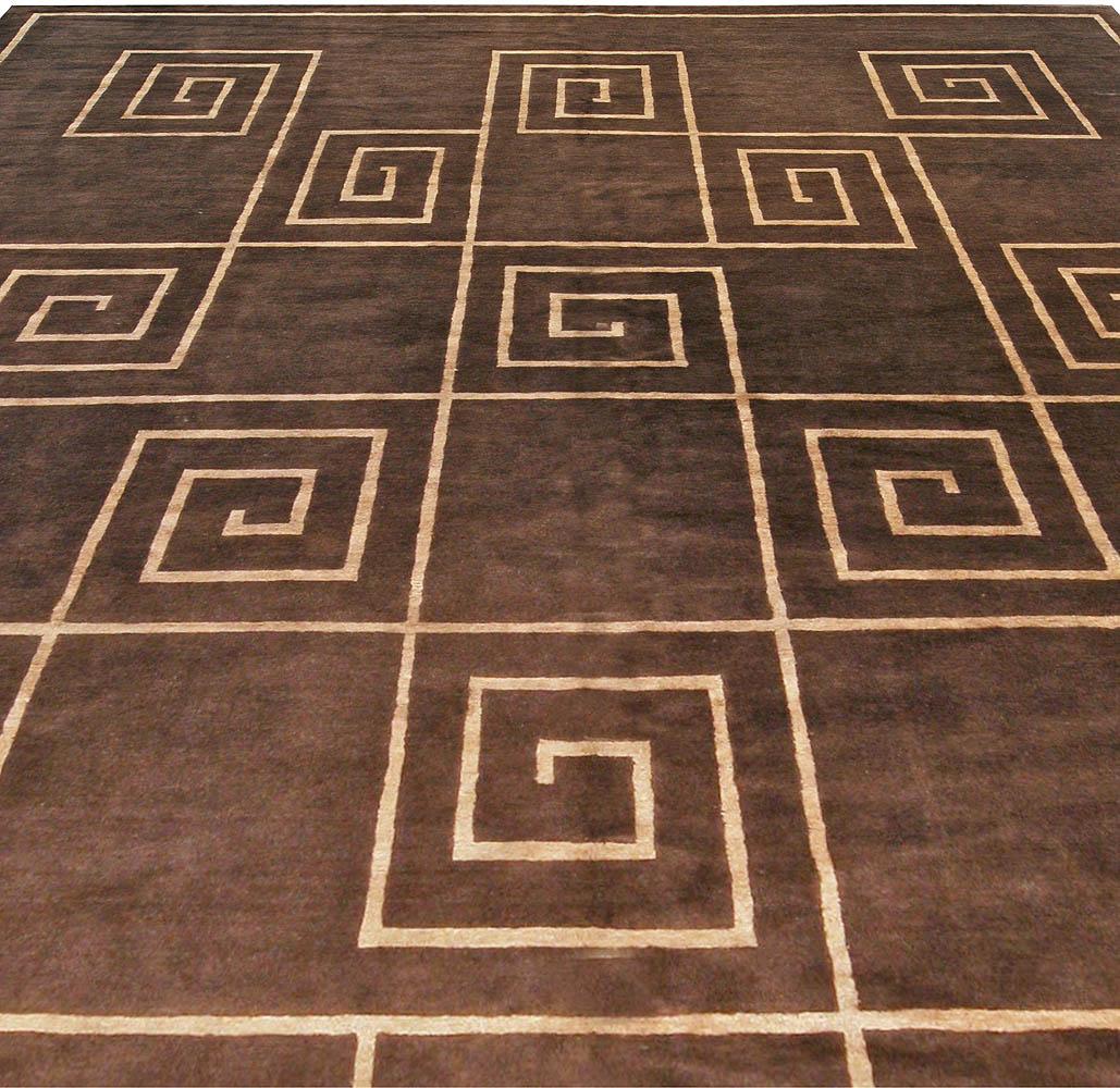 Tibetan Greek Key in Chocolate Brown and Golden Beige and Silk Rug N10957