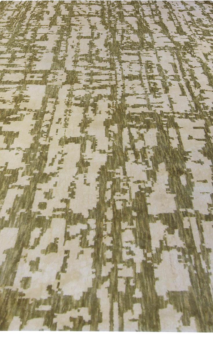 Abstract Handmade Green Element Rug N10618