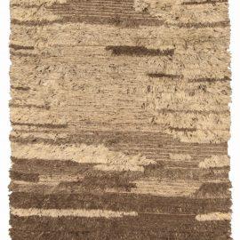 Tribal Tulu Nadu Style Shaggy Wool Rug in Shades of Brown N10307