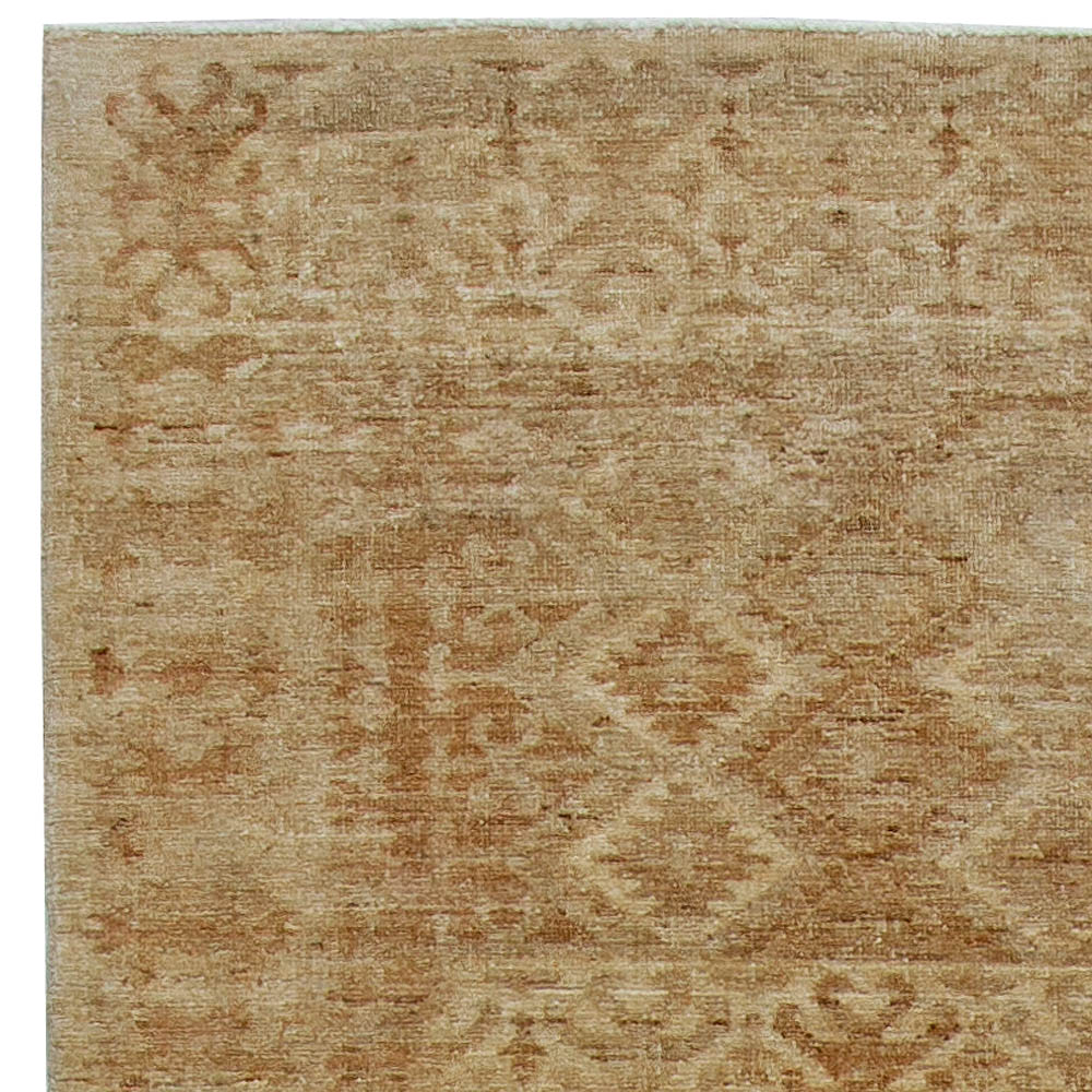 Contemporary Samarkand Beige and Brown Handwoven Wool Carpet N10826