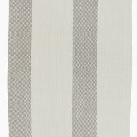 Contemporary Striped Off-white and Gray Flat-woven Wool Runner N11592