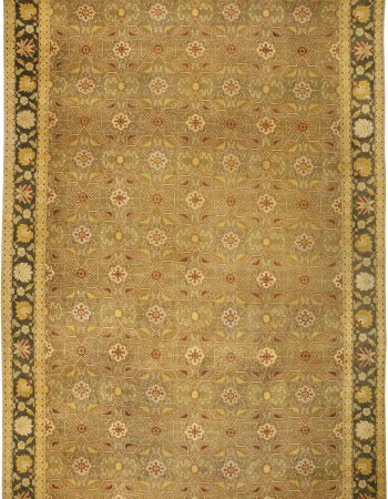 Modern Samarkand Chocolate Brown, Sandy Beige and Taupe Wool Rug N11080