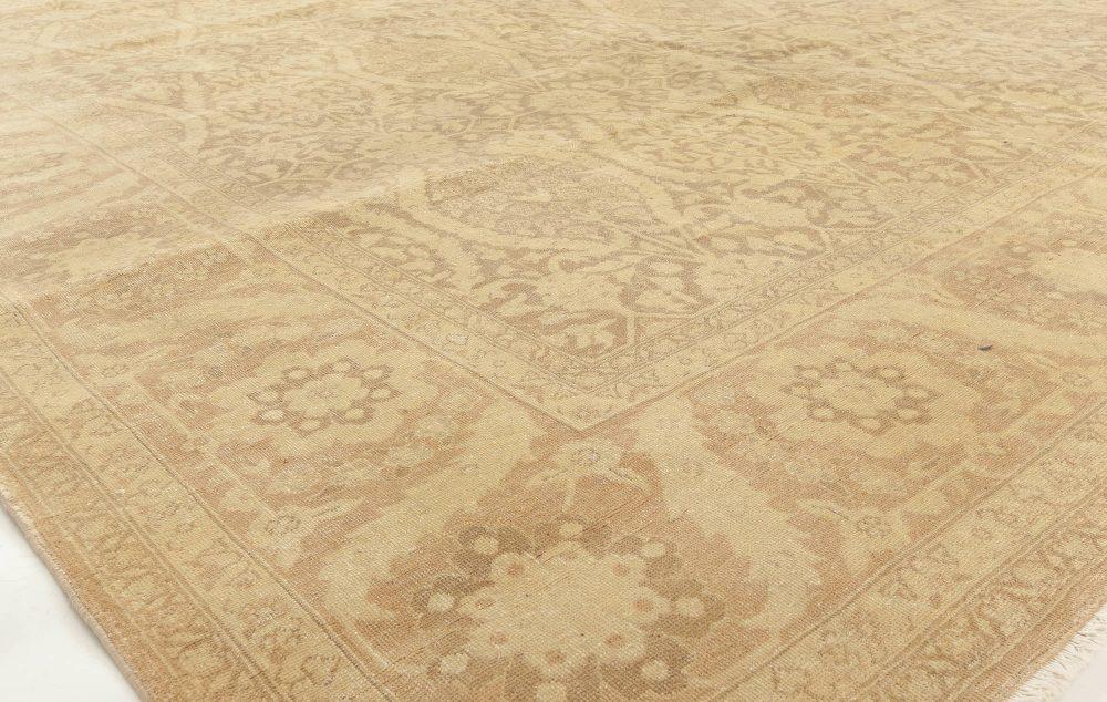 Contemporary Traditional Oriental Inspired Warm Beige Wool Rug N11422