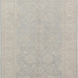 Traditional Inspired Tabriz Beige and Blue Handwoven Wool Rug N11698