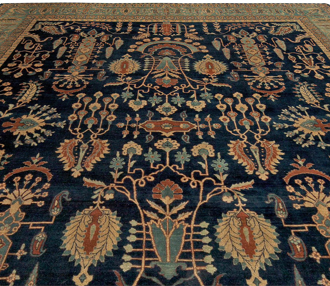 Vintage Persian Kirman in shades of Rust, Beige and Light Blue Rug BB5860