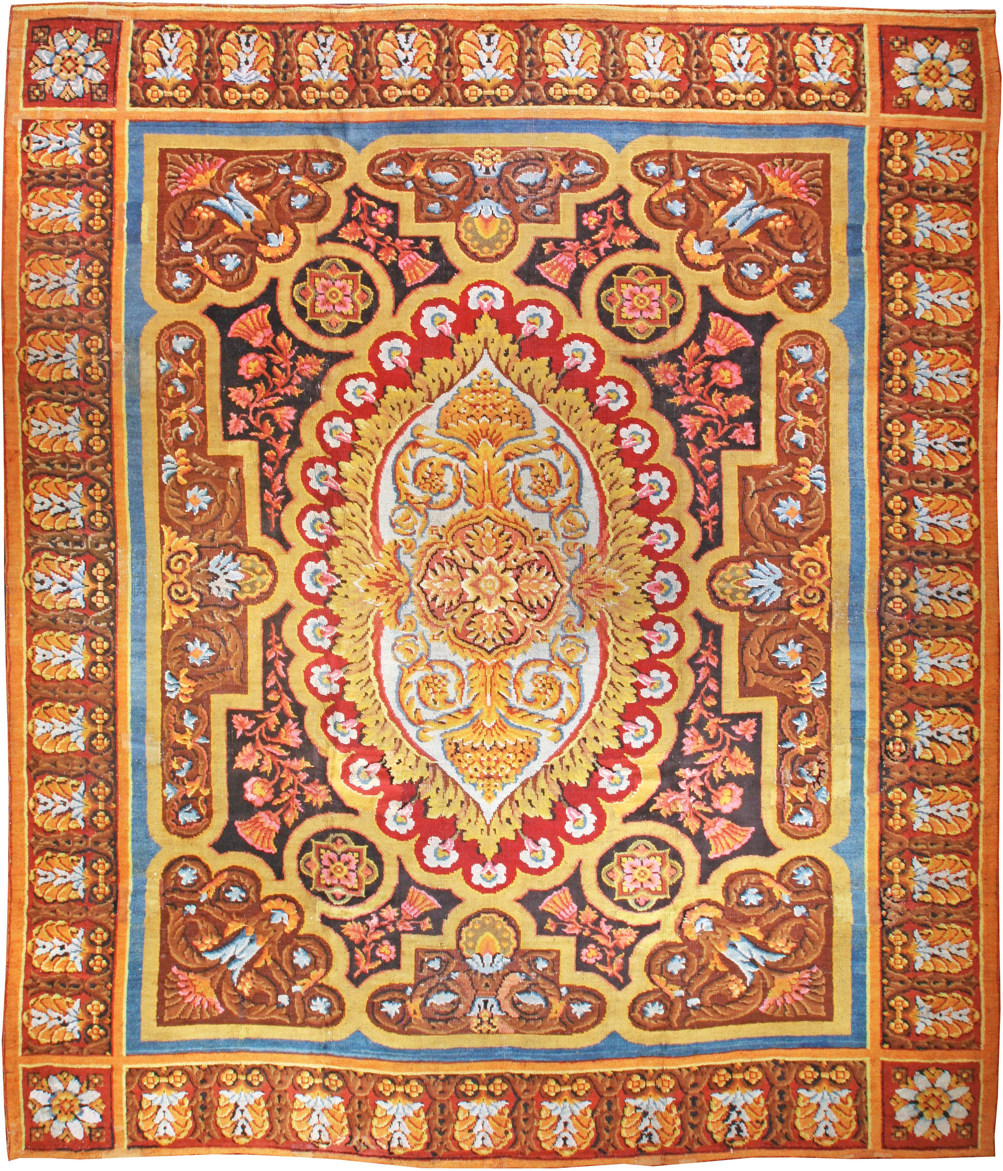 Antique English Axminster Carpet Bb1316 By Dlb